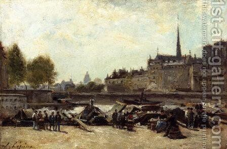 The Apple Marker, Quai de Gesvres and Quay de l'Hotel de Ville, near Pont d'Arcole by Stanislas Lepine - Reproduction Oil Painting
