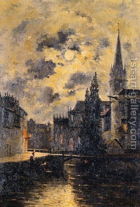 A Moonlit Canal by Stanislas Lepine - Reproduction Oil Painting