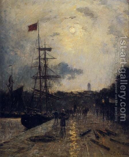 A Quay at Caen by Stanislas Lepine - Reproduction Oil Painting