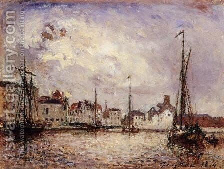 The Harbor: the Brussels Warehouse District by Johan Barthold Jongkind - Reproduction Oil Painting
