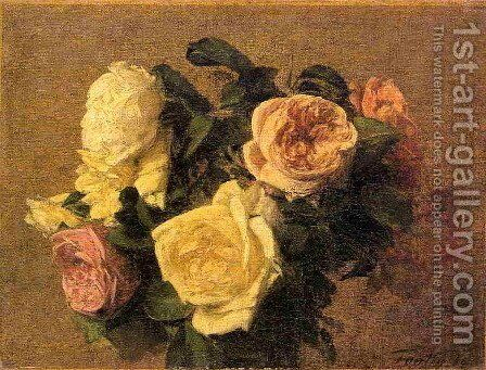 Roses XIII by Ignace Henri Jean Fantin-Latour - Reproduction Oil Painting