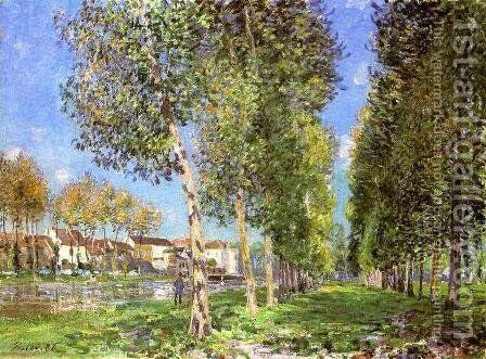 The Lane of Poplars at Moret-Sur-Loing by Alfred Sisley - Reproduction Oil Painting