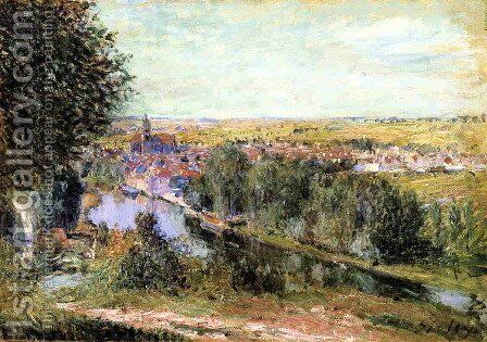 View of Moret by Alfred Sisley - Reproduction Oil Painting