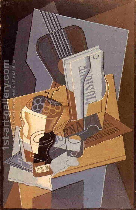 The Book of Music by Juan Gris - Reproduction Oil Painting