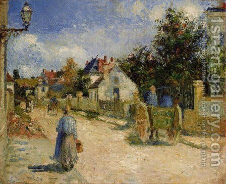 A Street in Pontoise by Camille Pissarro - Reproduction Oil Painting