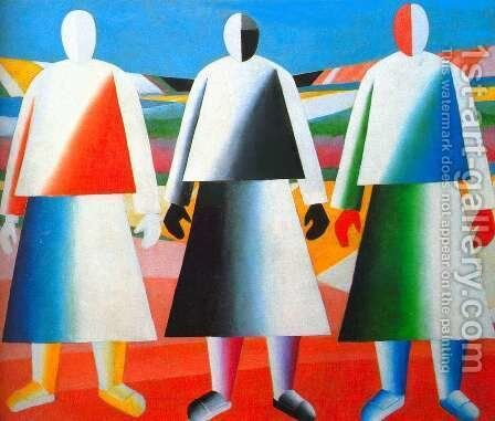 Girls in the field by Kazimir Severinovich Malevich - Reproduction Oil Painting