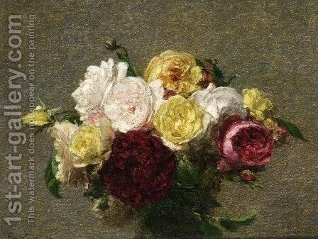 Bouquet of Roses I by Ignace Henri Jean Fantin-Latour - Reproduction Oil Painting