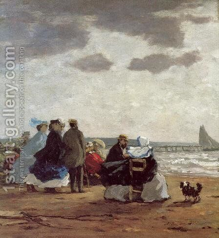 On the Beach, Dieppe by Eugène Boudin - Reproduction Oil Painting