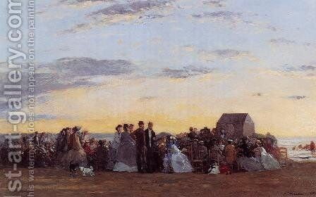 Beach Scene by Eugène Boudin - Reproduction Oil Painting