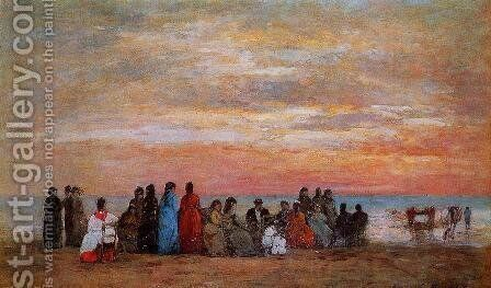 Figures on the Beach at Trouville by Eugène Boudin - Reproduction Oil Painting