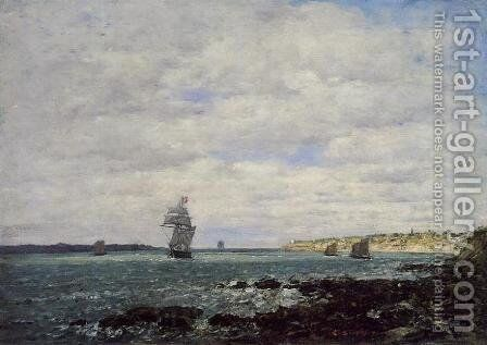 Coast of Brittany by Eugène Boudin - Reproduction Oil Painting
