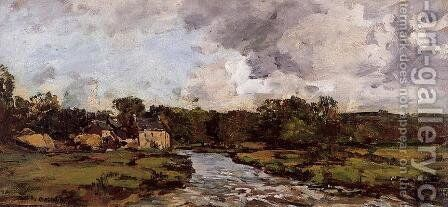 Riviere de l'hospital by Eugène Boudin - Reproduction Oil Painting