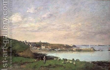 View at Saint-Quay-Portriaux by Eugène Boudin - Reproduction Oil Painting