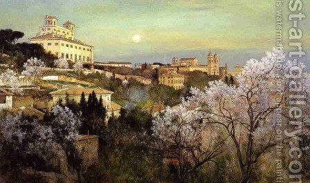 Il Pincio with a View of Villa Medici by Charles Caryl Coleman - Reproduction Oil Painting