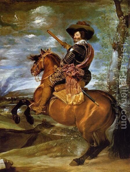 Count-Duke of Olivares on Horseback by Velazquez - Reproduction Oil Painting