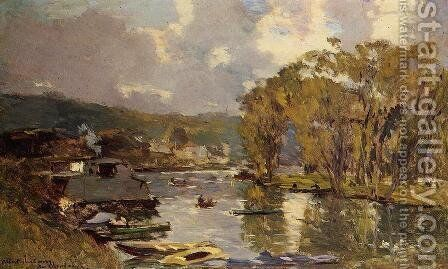 The Small Art of the Saine at Bas-Meudon in Autumn, Evening by Albert Lebourg - Reproduction Oil Painting