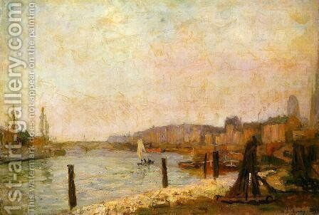 View of Rouen in Winter by Albert Lebourg - Reproduction Oil Painting