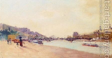 Paris, the Seine and the Pont des Saint-Peres, with the Louvre by Albert Lebourg - Reproduction Oil Painting