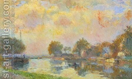 The Banks of the Canal at Charenton, Sunny Autumn Afternoon by Albert Lebourg - Reproduction Oil Painting