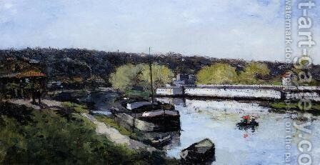 Barge on the Seine at Basd-Meudon by Albert Lebourg - Reproduction Oil Painting