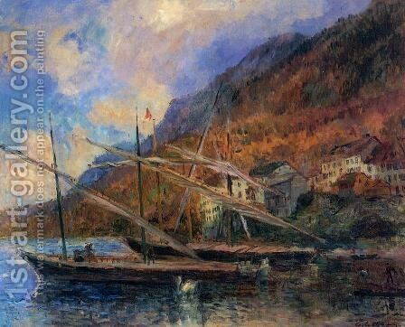 Boats by the Banks of Lake Geneva at Saint-Gingolph by Albert Lebourg - Reproduction Oil Painting