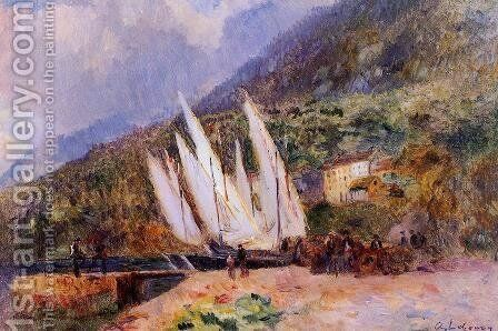 Boats Docked at Saint-Gingolph by Albert Lebourg - Reproduction Oil Painting
