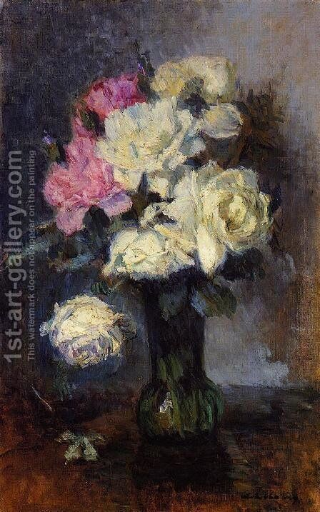 Bouquet of Roses in a Vase by Albert Lebourg - Reproduction Oil Painting