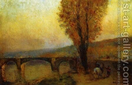 Bridge and Rider by Albert Lebourg - Reproduction Oil Painting