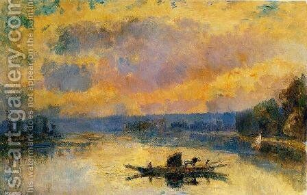 The Ferry at Bouille, Sunset by Albert Lebourg - Reproduction Oil Painting