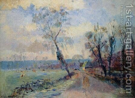Hondouville, an Afternoon at the End of Winter by Albert Lebourg - Reproduction Oil Painting