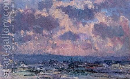 The Seine and the Faubourt Saint-Server, Sky Study by Albert Lebourg - Reproduction Oil Painting