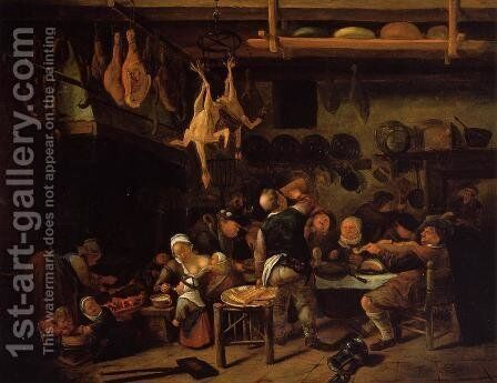The Fat Kitchen by Jan Steen - Reproduction Oil Painting