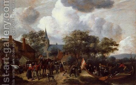 Village Festival with the Ship of Saint Rijn Uijt by Jan Steen - Reproduction Oil Painting