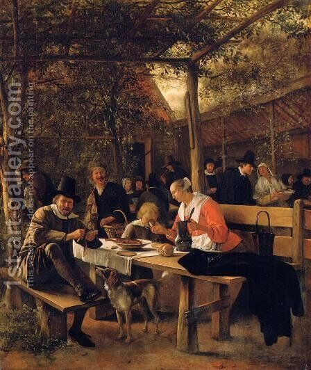 The Garden outside an Inn by Jan Steen - Reproduction Oil Painting