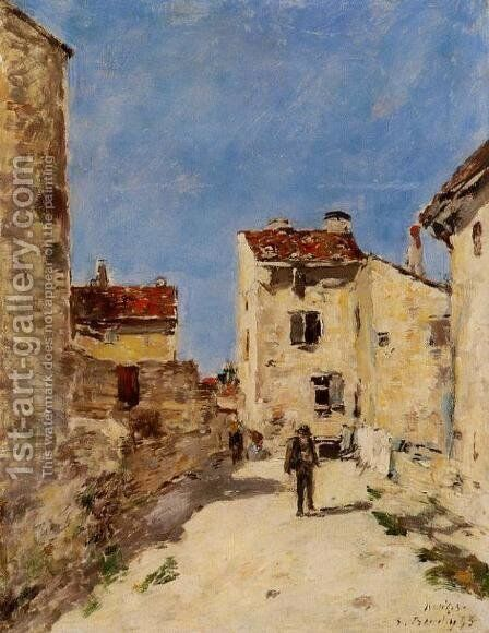 Street, Antibes by Eugène Boudin - Reproduction Oil Painting