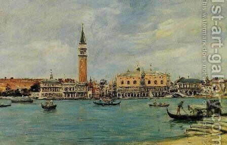 Venice, the Campanile, the Ducal Palace and the Piazetta, View from San Giorgio by Harrison Bird Brown - Reproduction Oil Painting