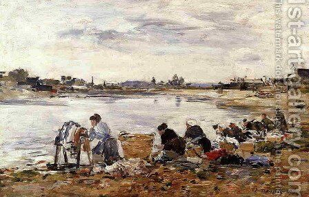 Laundresses on the Banks of the Touques IV by Eugène Boudin - Reproduction Oil Painting