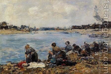 Laundresses on the Banks of the Touques V by Eugène Boudin - Reproduction Oil Painting