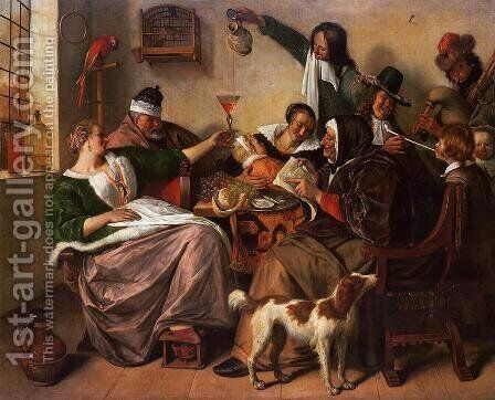 As the Old Sing, So Pipe the Young by Jan Steen - Reproduction Oil Painting