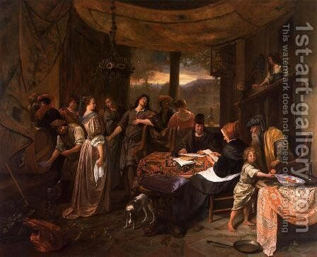 The Wedding of Tobias and Sarah I by Jan Steen - Reproduction Oil Painting