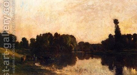 Daybreak, the Oise, Ile de Vaux by Charles-Francois Daubigny - Reproduction Oil Painting