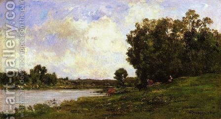 Cattle on the Bank of the River by Charles-Francois Daubigny - Reproduction Oil Painting