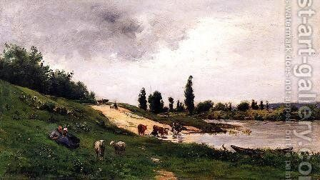 Washerwomen on the Riverbank by Charles-Francois Daubigny - Reproduction Oil Painting