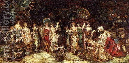 Cock Fight in Front of a Group of Young Women by Adolphe Joseph Thomas Monticelli - Reproduction Oil Painting