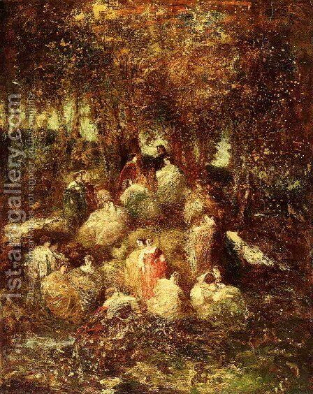 Rural Scene by Adolphe Joseph Thomas Monticelli - Reproduction Oil Painting