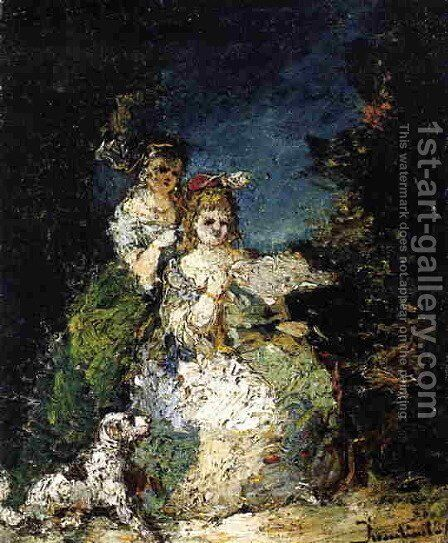 Young Girls and Dog in a Park by Adolphe Joseph Thomas Monticelli - Reproduction Oil Painting