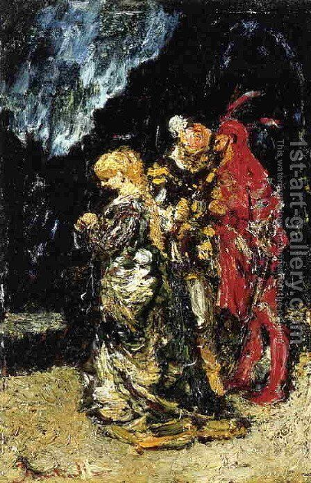 Marguerite, Fauste and Mephisto by Adolphe Joseph Thomas Monticelli - Reproduction Oil Painting