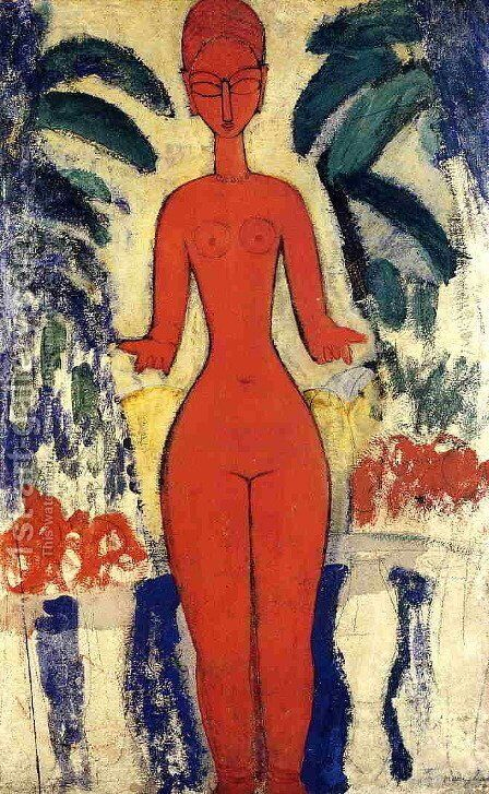 Standing Nude with Garden Background by Amedeo Modigliani - Reproduction Oil Painting