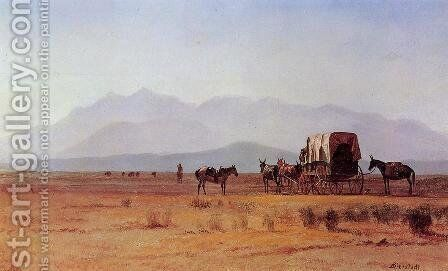Surveyor's Wagon in the Rockies by Albert Bierstadt - Reproduction Oil Painting