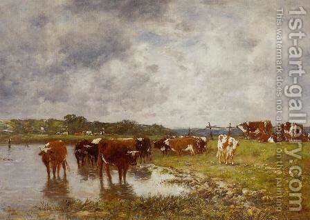 Cows in a Meadow on the Banks of the Toques by Eugène Boudin - Reproduction Oil Painting